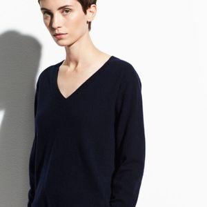 VINCE Navy 100% Cashmere V-Neck Sweater
